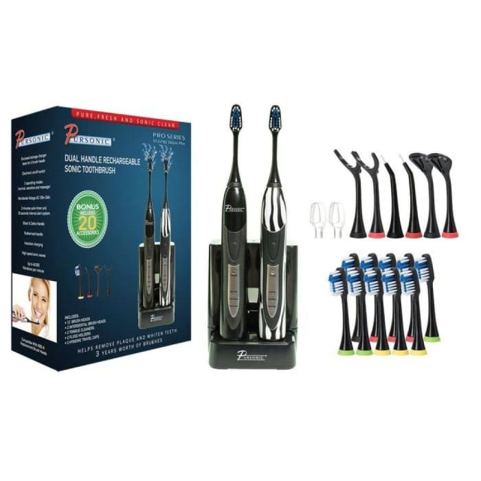 Pursonic Dual-Handle Sonic Toothbrush With 12 Brush Heads