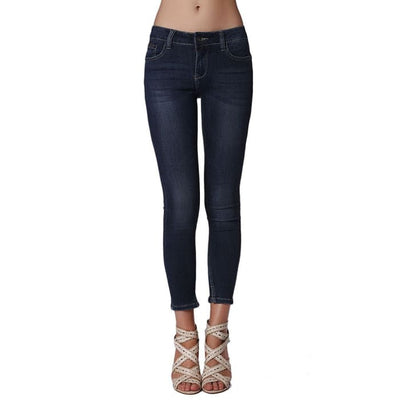 Push Up Skinny Mid Rise Jeans In Darkwash Women - Apparel - Denim - Jeans