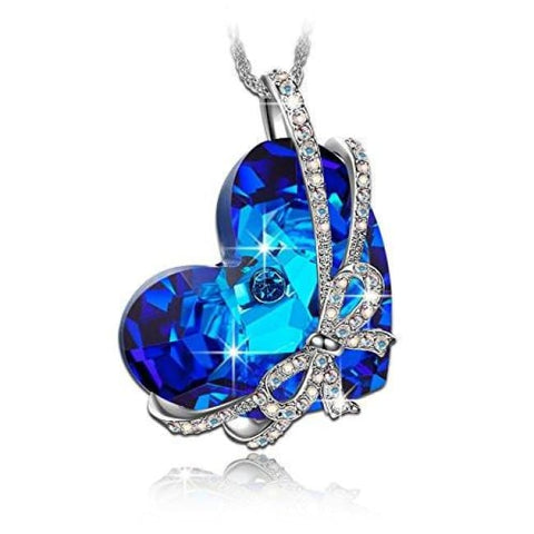 Qianse Heart Of The Ocean Bowtie Pendant Necklace Made With Swarovski Crystal Women Heart Jewelry Fashion