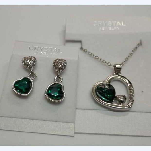 Quality Charm Women Accessories Bridal Austrian Crystal Double Heart Pendant Crystalgreen Jewelry Sets