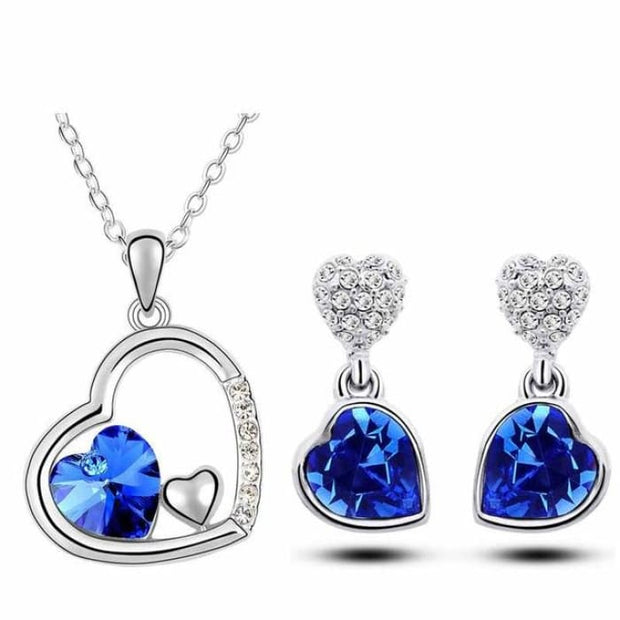 Quality Charm Women Accessories Bridal Austrian Crystal Double Heart Pendant Darkblue Jewelry Sets