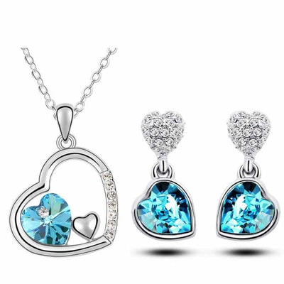 Quality Charm Women Accessories Bridal Austrian Crystal Double Heart Pendant Jewelry Sets