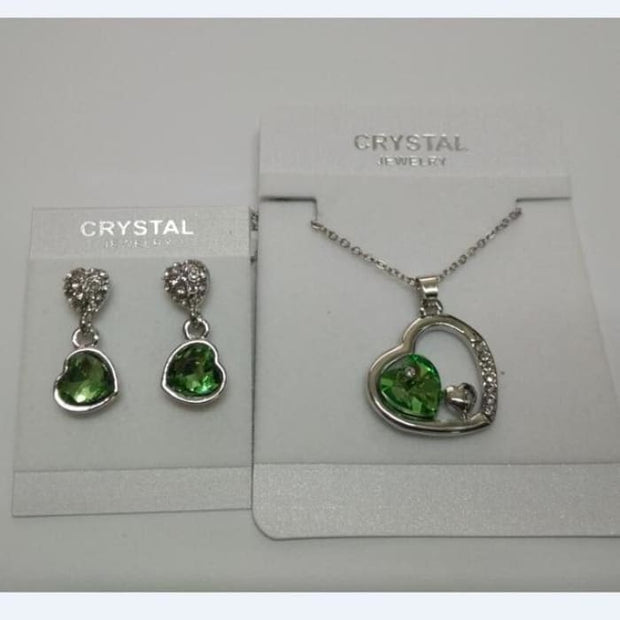 Quality Charm Women Accessories Bridal Austrian Crystal Double Heart Pendant Lightgreen Jewelry Sets