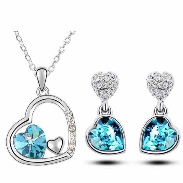 Quality Charm Women Accessories Bridal Austrian Crystal Double Heart Pendant Oceanblue Jewelry Sets