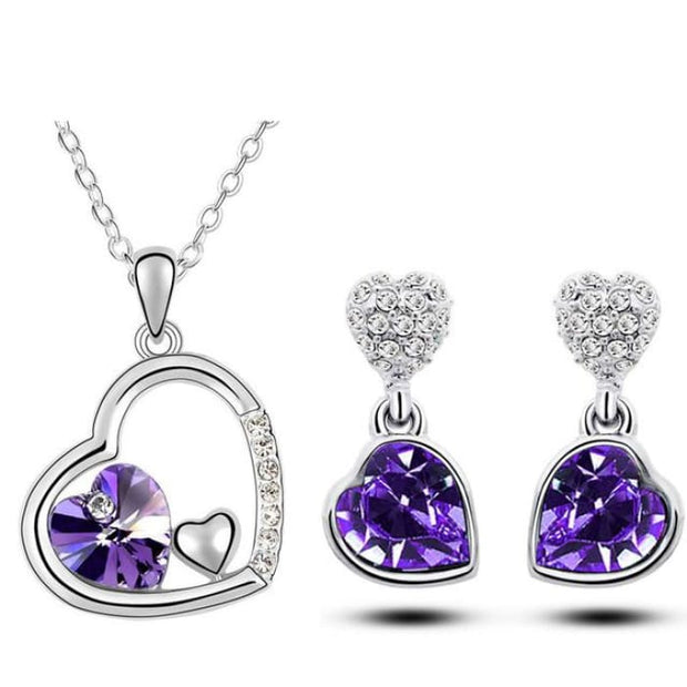 Quality Charm Women Accessories Bridal Austrian Crystal Double Heart Pendant Purple Jewelry Sets