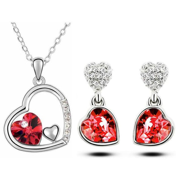 Quality Charm Women Accessories Bridal Austrian Crystal Double Heart Pendant Red Jewelry Sets