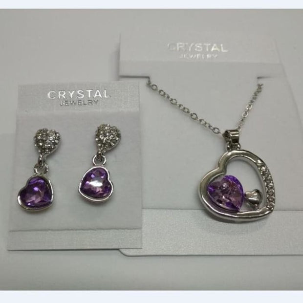 Quality Charm Women Accessories Bridal Austrian Crystal Double Heart Pendant Violet Jewelry Sets