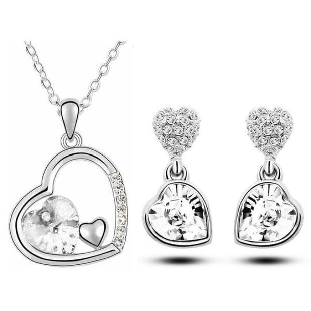 Quality Charm Women Accessories Bridal Austrian Crystal Double Heart Pendant White Jewelry Sets
