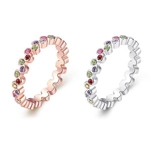 Rainbow Swarovski Elements Stackable Bands In 18K Gold Plated Brass