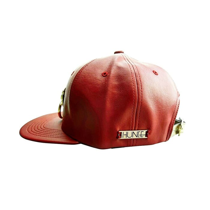 Red Faux Leather Snapback Hat Women - Accessories - Hats