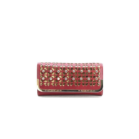 Red & Gold Cutout Crystal Wristlet Wallet Women - Accessories - Wallets & Small Goods