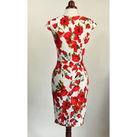 d9f45293a603 Red Rose Dress Floral Dress Summer Dress Vintage Style Dress Red And White  Dress Midi Dress