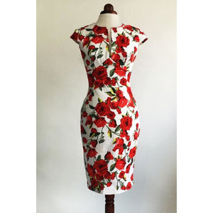 bc484048454 Red Rose Dress Floral Dress Summer Dress Vintage Style Dress Red And White  Dress Midi Dress