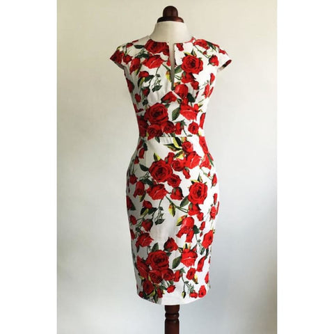 Red Rose Dress Floral Dress Summer Dress Vintage Style Dress Red And White Dress Midi Dress Mid-Length Dress Cotton Dress 50S Dress