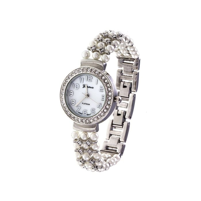 Rhodium & Pearl Accent Watch With Rhinestone Frame Women - Accessories - Watches