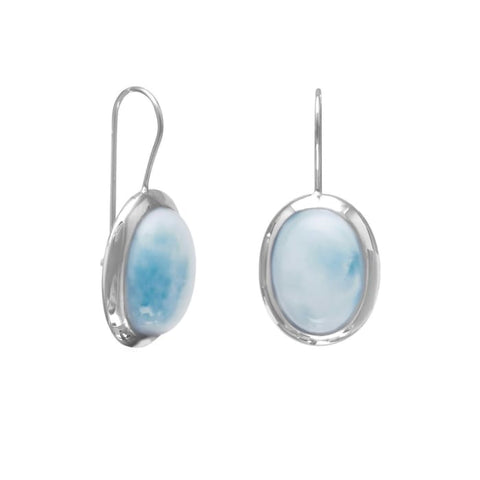Rhodium Plated Large Oval Larimar Earrings Jewelry