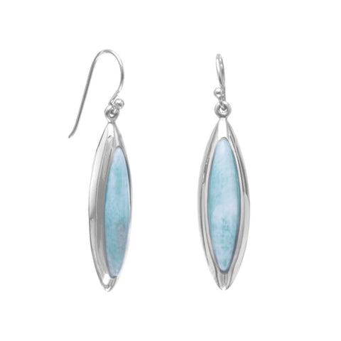 Rhodium Plated Marquise Larimar Earrings Jewelry