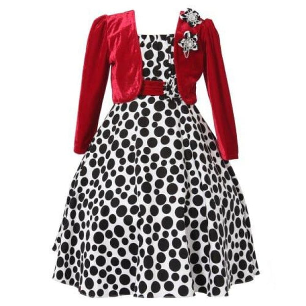 Richie House Girls Long Style Polka Dot Dress With Cape Size 3-10Y Rh1508 Back To Richie House Store