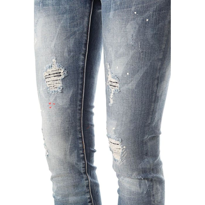 Rinse Wash Skinny Jean With Paint Splatter Women - Apparel - Denim - Jeans