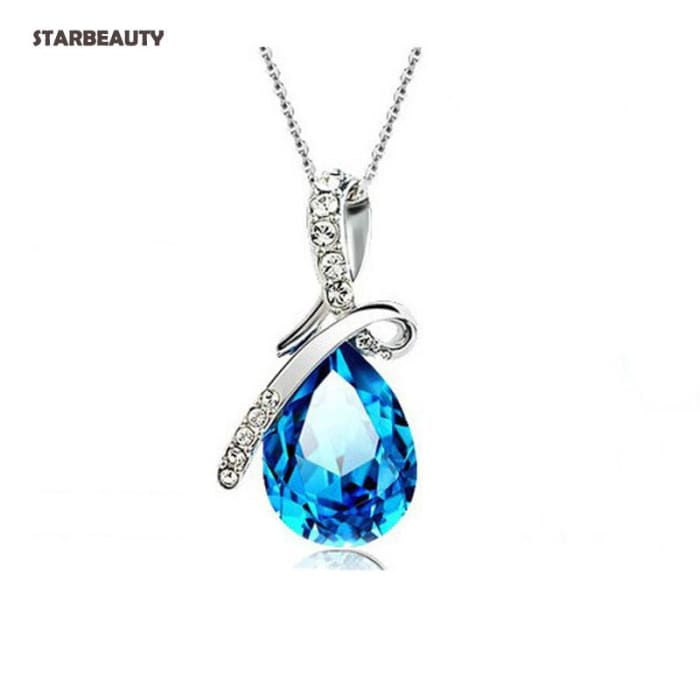 Romantic Angel Tear Blue Crystal Drop Pendant Necklaces Pingente Colares