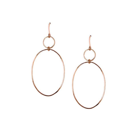 Rose Tone Double Hoop Earrings Women - Jewelry - Earrings
