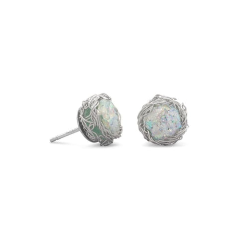 Round Ancient Roman Glass Stud Earrings With Woven Wire Mesh Jewelry