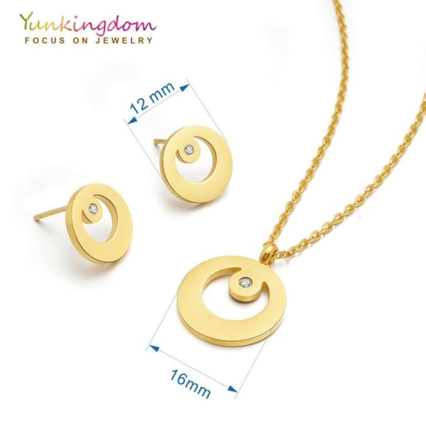 Round Moon Jewelry Sets For Women Stainless Steel Necklaces Earrings Sets Jewelry Sets