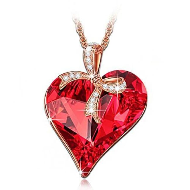 Ruby Heart Pendant Necklace With Bow Design Made With Swarovski Crystals Back To Lady Colour Store