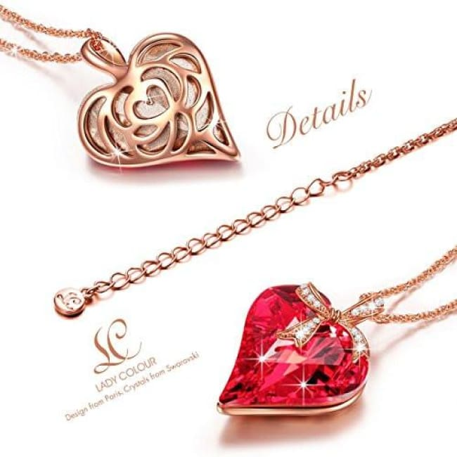 8794d4a11b80 Ruby Heart Pendant Necklace With Bow Design Made With Swarovski Crystals  Back To Lady Colour Store