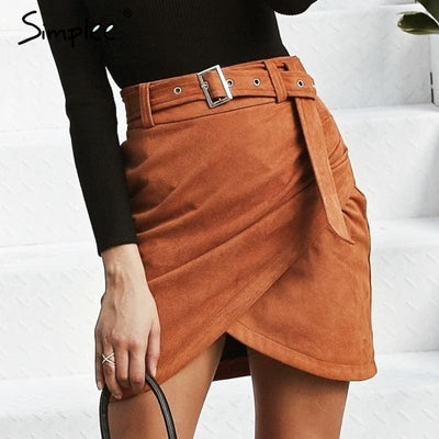 Sash Wrap Suede Leather Women Skirt
