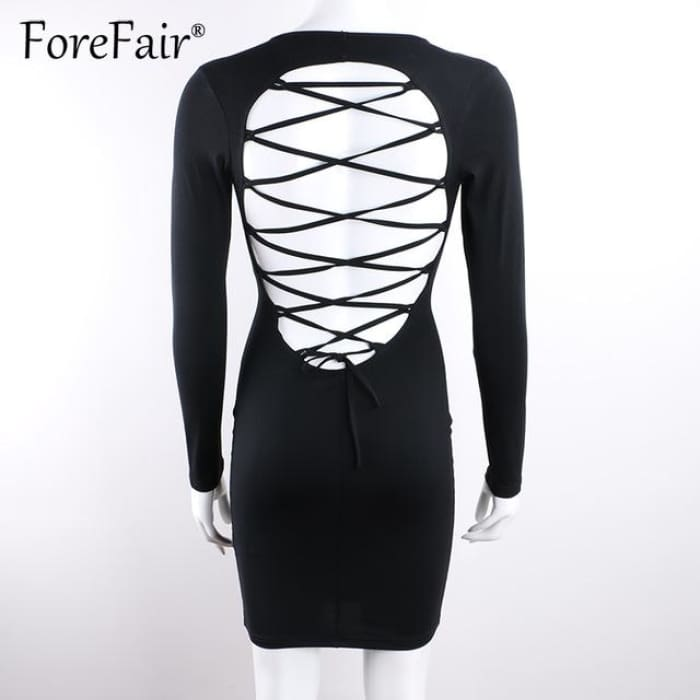 Sexy Backless Cross Lace Up Dress Black / S Dresses