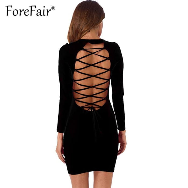 Sexy Backless Cross Lace Up Dress Dresses