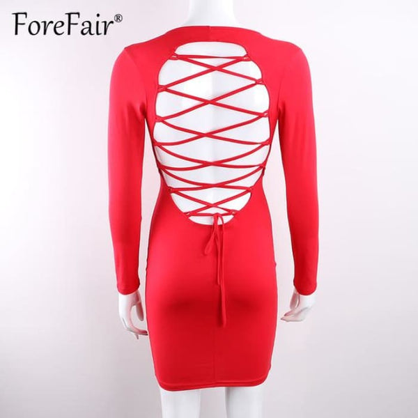 Sexy Backless Cross Lace Up Dress Red / S Dresses