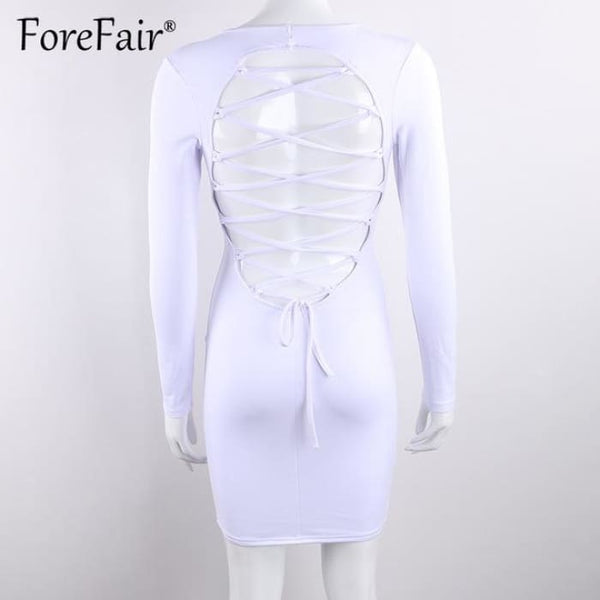 Sexy Backless Cross Lace Up Dress White / S Dresses