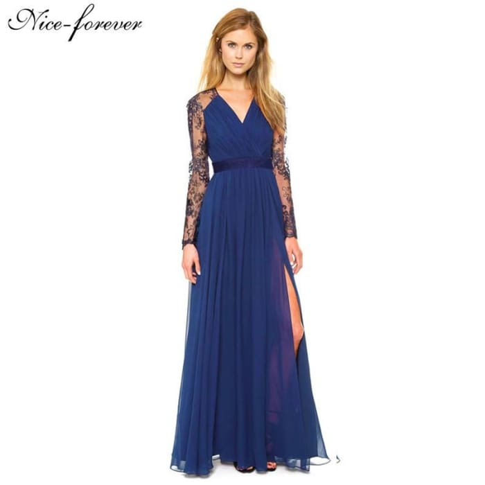 Sexy Blue New Arrival Summer Elegant V Neck Long Sleeve Fitted Lace Dress Women Fashion Slimming Chiffon Splited Maxi Dress A001 Dresses