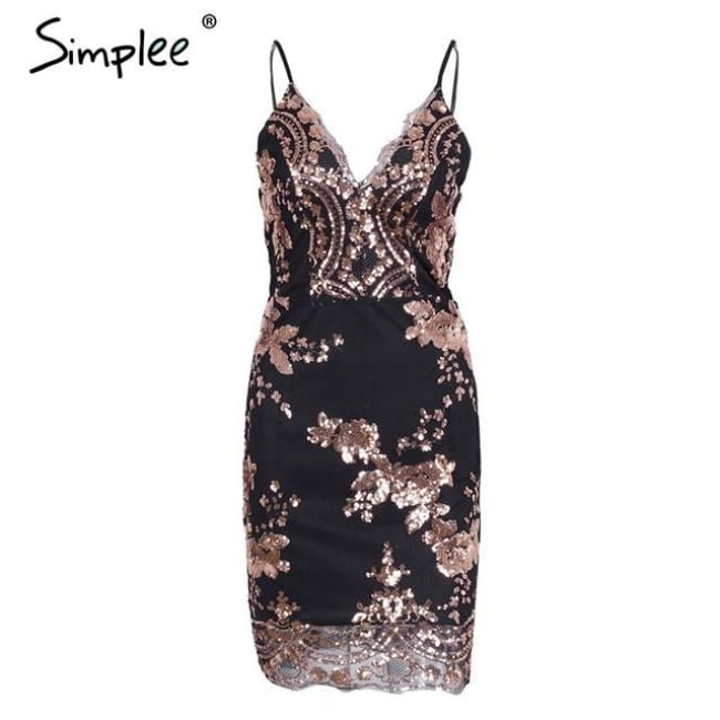 Sexy Club Strap Backless Mini Dress Women V Neck Sequin Party Dresses Black / S Dresses
