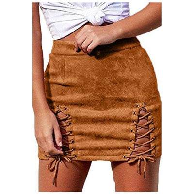 acc9956f25 Sexy High Waist Lace Up Bodycon Faux Suede Split Tight Mini Skirt