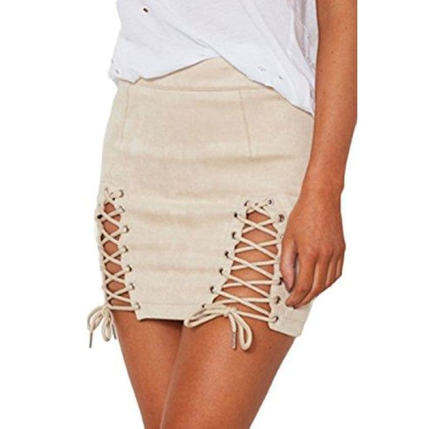 2cd8927175 Sexy High Waist Lace Up Bodycon Faux Suede Split Tight Mini Skirt Small /  Beige