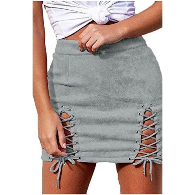 Sexy High Waist Lace Up Bodycon Faux Suede Split Tight Mini Skirt Small / Gray
