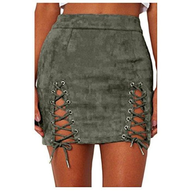 26fa0ccd69 Sexy High Waist Lace Up Bodycon Faux Suede Split Tight Mini Skirt Small /  Green