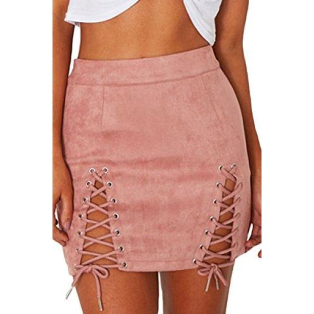 Sexy High Waist Lace Up Bodycon Faux Suede Split Tight Mini Skirt Small / Pink