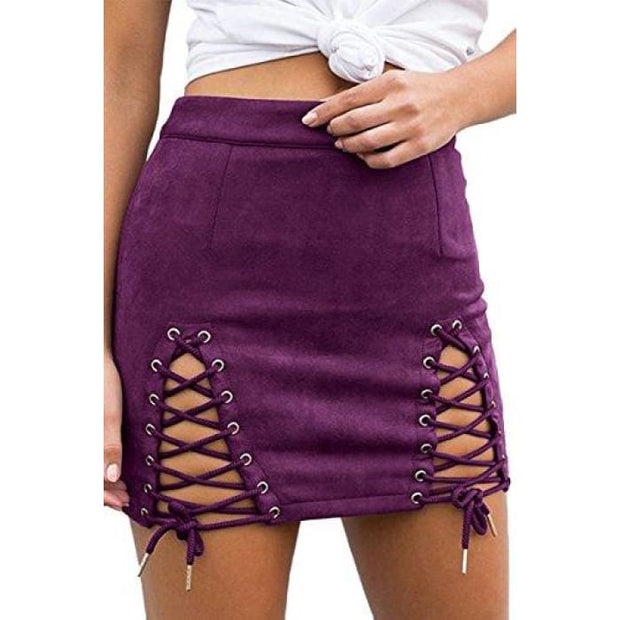 Sexy High Waist Lace Up Bodycon Faux Suede Split Tight Mini Skirt Small / Purple