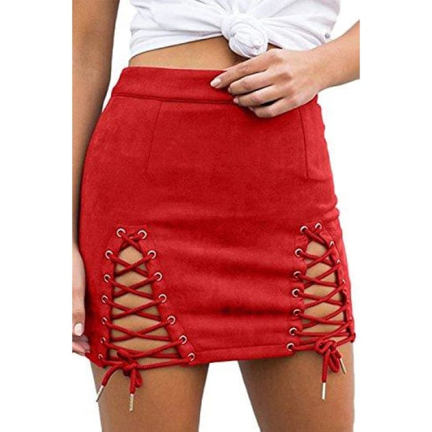 Sexy High Waist Lace Up Bodycon Faux Suede Split Tight Mini Skirt Small / Red