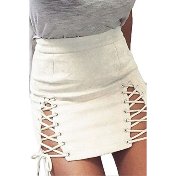 Sexy High Waist Lace Up Bodycon Faux Suede Split Tight Mini Skirt Small / White
