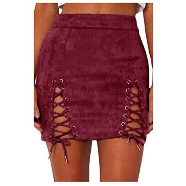 Sexy High Waist Lace Up Bodycon Faux Suede Split Tight Mini Skirt Small / Wine Red