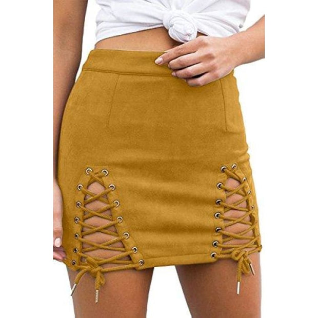 Sexy High Waist Lace Up Bodycon Faux Suede Split Tight Mini Skirt Small / Yellow
