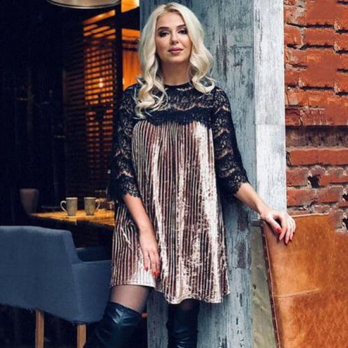 Sexy Lace Patchwork Velvet Dress 2018 Casual O Neck Three Quarter Sleeve 01 Coffee / S Dresses