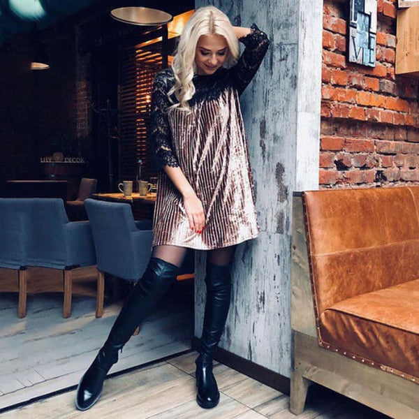 Sexy Lace Patchwork Velvet Dress 2018 Casual O Neck Three Quarter Sleeve Dresses