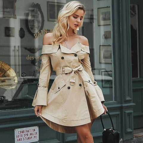 Sexy Off Shoulder Trench Coat
