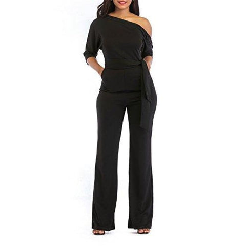 Sexy One Shoulder Solid Jumpsuits Wide Leg Long Romper Pants With Belt